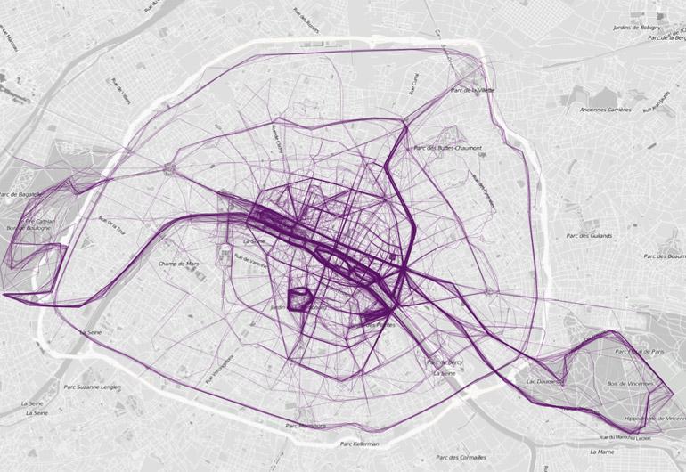 Trajets de course à pied dans Paris